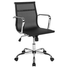 Mid-Back Transparent Black Mesh Mid-Century Modern Swivel Office Chair with Spring-Tilt Control and Arms