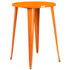"Commercial Grade 30"" Round Orange Metal Indoor-Outdoor Bar Height Table"