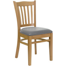 Natural Wood Finished Vertical Slat Back Wooden Restaurant Chair with Custom Upholstered Seat