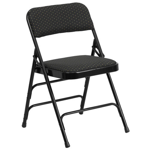 Our HERCULES Series Curved Triple Braced & Double Hinged Black Patterned Fabric Metal Folding Chair is on sale now.