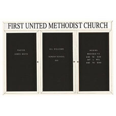 3 Door Outdoor Enclosed Directory Board with Header and White Anodized Aluminum Frame - 48