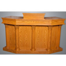 Stained Red Oak Closed Wing Pulpit with Round Fluted Column Accents