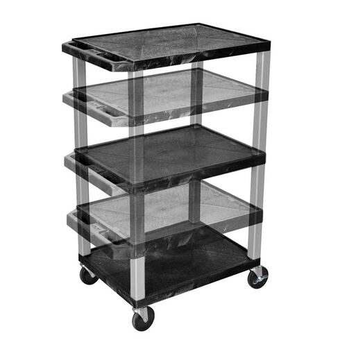 Adjustable Height Utility Cart with Nickel Legs