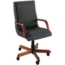Quick Ship Scoop Executive Swivel Chair with Wood Arms