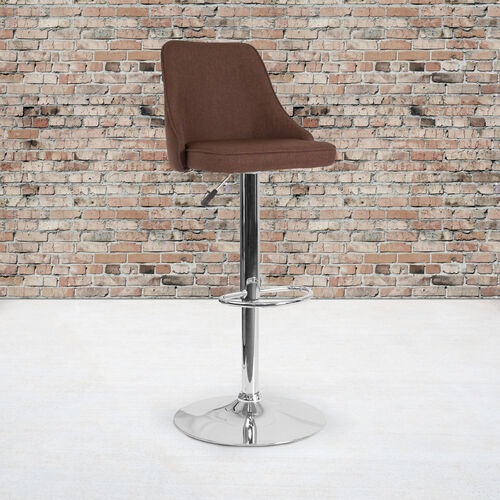 Trieste Contemporary Adjustable Height Barstool in Brown Fabric