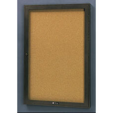 Rival Aluminum Frame Bulletin Board Cabinet with Tan Nucork Back Panel - 30