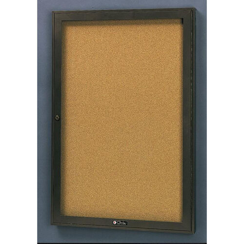 Our Rival Aluminum Frame Bulletin Board Cabinet with Tan Nucork Back Panel - 30