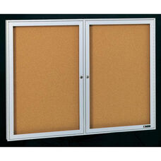 Deluxe 2 Door Bulletin Board Cabinet with Tan Nucork Back Panel - 60