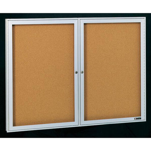 Our Deluxe 2 Door Bulletin Board Cabinet with Tan Nucork Back Panel - 60