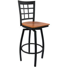 Advantage Window Pane Back Metal Swivel Bar Stool - Cherry Wood Seat