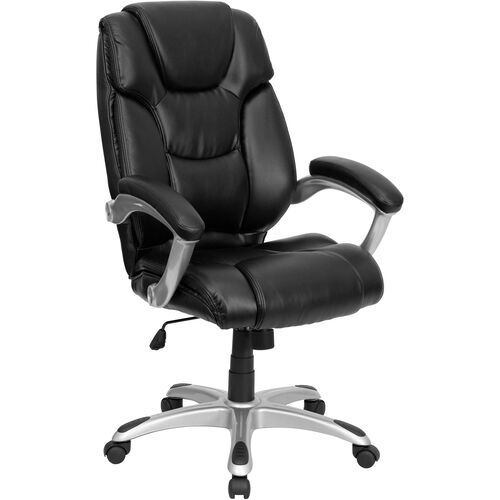 Our High Back Black LeatherSoft Layered Upholstered Executive Swivel Ergonomic Office Chair with Silver Nylon Base and Arms is on sale now.