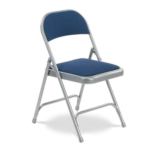 Our Quick Ship Multi-Purpose Steel Folding Chair with Sedona Sailor Fabric Pads and Silver Mist Frame - 17.75