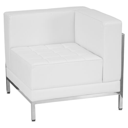 Our HERCULES Imagination Series Contemporary Melrose White Leather Right Corner Chair with Encasing Frame is on sale now.