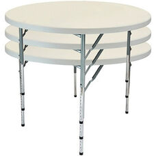 Advantage 5 ft. Round Adjustable Plastic Folding Table