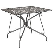 "Agostina Series 35.25"" Square Antique Silver Indoor-Outdoor Steel Patio Table"