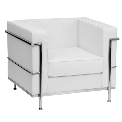 HERCULES Regal Series Contemporary Melrose White Leather Chair with Encasing Frame