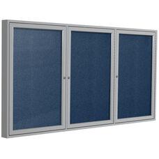 3-Door Satin Aluminum Framed Enclosure Tackboard