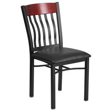 Vertical Back Black Metal and Mahogany Wood Restaurant Chair with Black Vinyl Seat