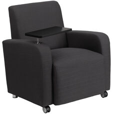 Gray Fabric Guest Chair with Tablet Arm and Front Wheel Casters
