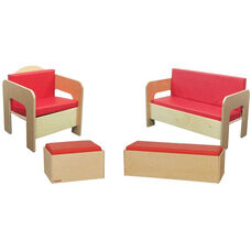 Wooden Kids 4 Piece Furniture Set with Red Vinyl Cushions