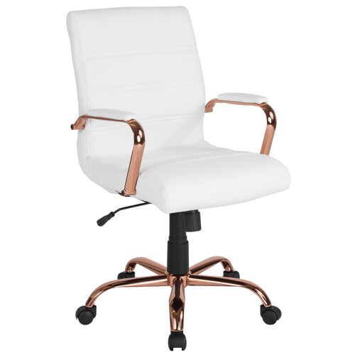 Our Mid-Back White Leather Executive Swivel Office Chair with Rose Gold Frame and Arms is on sale now.