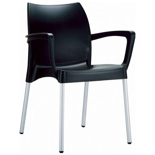 Dolce Outdoor Resin Stackable Arm Chair with Aluminum Legs - Black