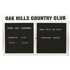 2 Door Outdoor Illuminated Enclosed Directory Board with Header and White Anodized Aluminum Frame - 48