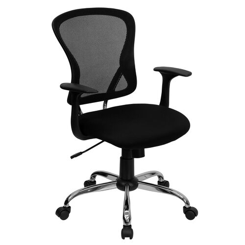 Our Mid-Back Mesh Swivel Task Chair with Chrome Base and Arms is on sale now.