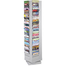Ninety-Two Pocket Steel Rotary Magazine Rack - Gray