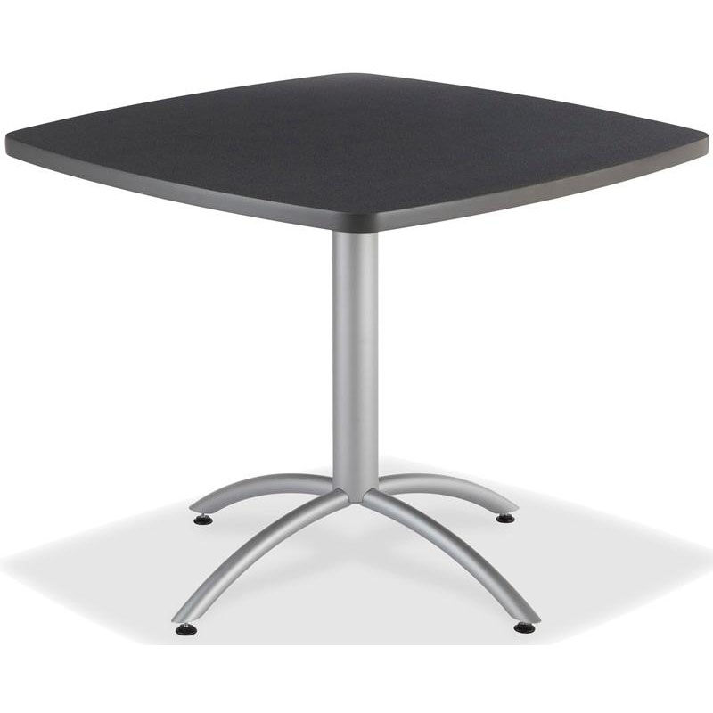 ... Our CafeWorks 42u0027u0027 Square Powder Coated Steel Frame Melamine Cafe Table    Graphite Granite