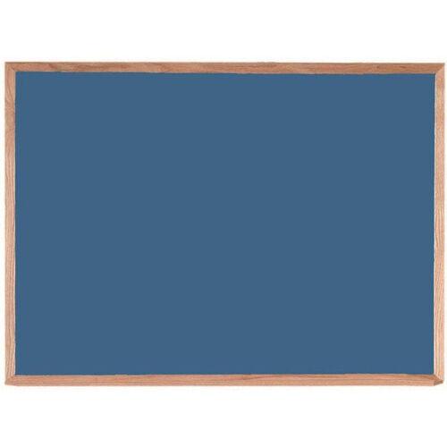 Blue Porcelain on Steel Chalkboard with Red Oak Frame - 36