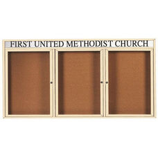 3 Door Indoor Illuminated Enclosed Bulletin Board with Header and Ivory Powder Coated Aluminum Frame - 48