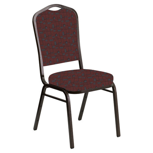 Our Embroidered Crown Back Banquet Chair in Circuit Garnet Fabric - Gold Vein Frame is on sale now.