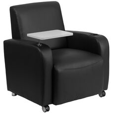 Black LeatherSoft Guest Chair with Tablet Arm, Front Wheel Casters and Cup Holder