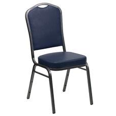 HERCULES Series Crown Back Stacking Banquet Chair in Navy Vinyl - Silver Vein Frame