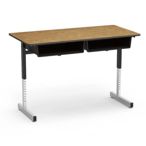 Our 870 Series Cantilever-Leg Double Student Desk with Medium Oak Top and Black Bookbox, Edge, and Legs - 24
