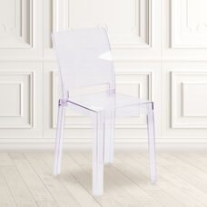 Ghost Chair with Square Back in Transparent Crystal