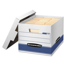 Bankers Box® STOR/FILE Med-Duty Letter/Legal Storage Boxes - Locking Lid - White/Blue - 12/CT