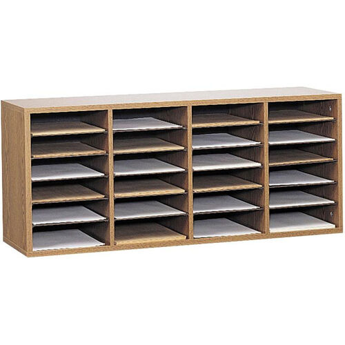 Our Adjustable Wooden Literature Organizer with Twenty-Four Compartment - Medium Oak is on sale now.