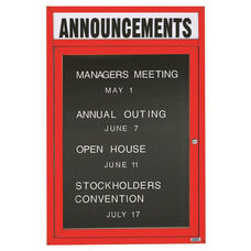 1 Door Indoor Enclosed Directory Board with Header and Red Anodized Aluminum Frame - 48