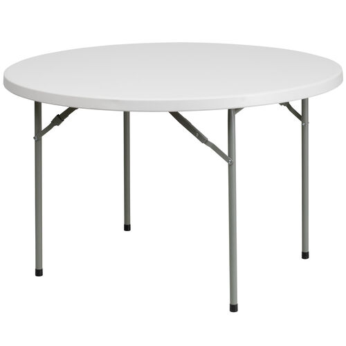 Our 4-Foot Round Granite White Plastic Folding Table is on sale now.