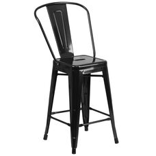 "Commercial Grade 24"" High Black Metal Indoor-Outdoor Counter Height Stool with Back"