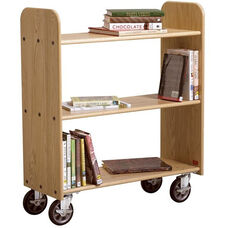 Solid Oak Mobile Book Truck with 3 Flat Shelves - 40.5