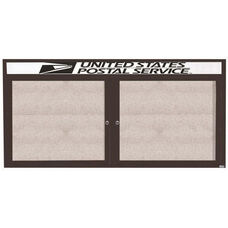 2 Door Outdoor Enclosed Bulletin Board with Header and Bronze Anodized Aluminum Frame - 36