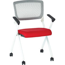 Space Pulsar Folding Chair with Breathable Mesh Back and Mesh Fabric Seat - Set of 2 - Red