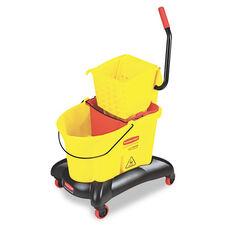 Rubbermaid® Commercial Wavebrake 35 Qt Dual Water Side Press Mop Bucket & Wringer - Yellow