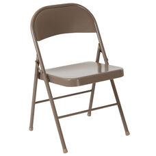 HERCULES Series Double Braced Beige Metal Folding Chair