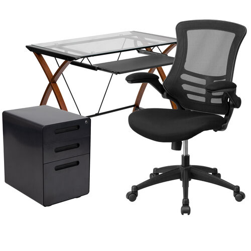 Our Work From Home Kit - Glass Desk with Keyboard Tray, Ergonomic Mesh Office Chair and Filing Cabinet with Lock & Inset Handles is on sale now.