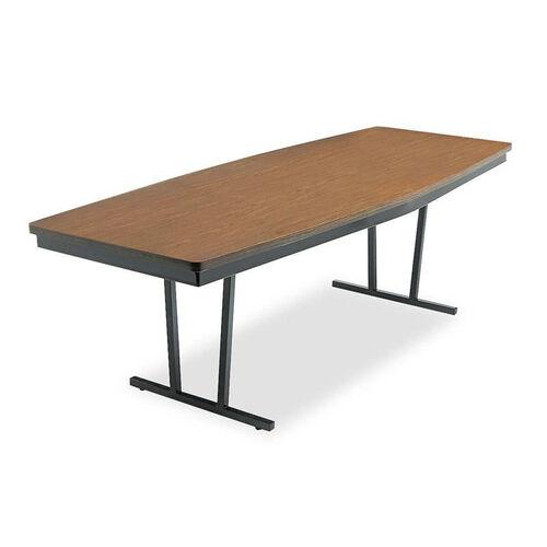 Barricks Manufacturing Company Economy Conference Folding Table - Boat - 96w x 36d x 30h - Walnut/Black