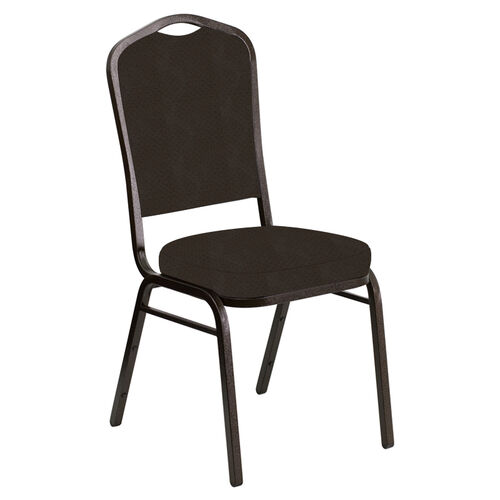 Our Embroidered Crown Back Banquet Chair in Neptune Chocolate Fabric - Gold Vein Frame is on sale now.
